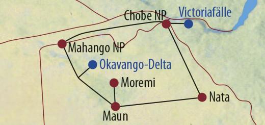 Karte Reise Botswana • Namibia • Simbabwe Safaritraum Botswana 2021/22