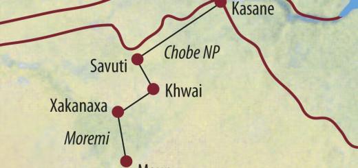 Karte Reise Botswana Safaritraum für Naturfotografen 2021/22