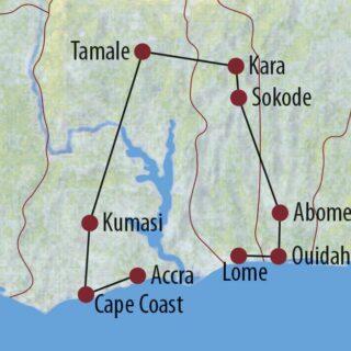 Karte Reise Togo • Benin • Ghana Traditionelle Feste und mystischer Voodoozauber 2021/22